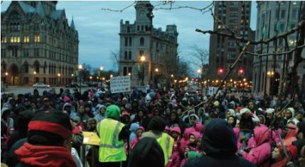 Over 1,000 people gathered in Clinton Square on March 30 to call for justice for Trayvon Martin. Photo: Nicola Tenaglia