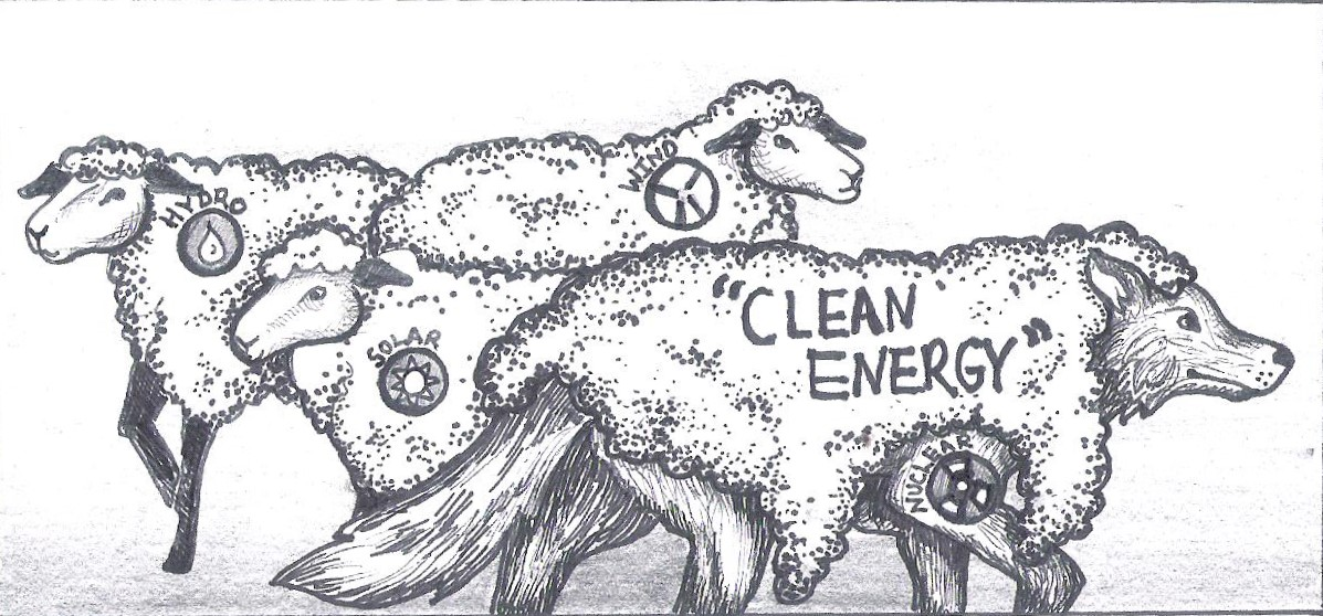 "Sheep with ""Hydro"", ""Solar"", and ""Wind"";  Wolf with ""Clean Energy"""