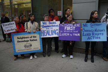 NOON activists and NYC-area supporters of Onondaga Land Rights vigil after the hearing on the Onondaga Nation Appeal on October 19 in New York City. Photo: Andrew Courtney