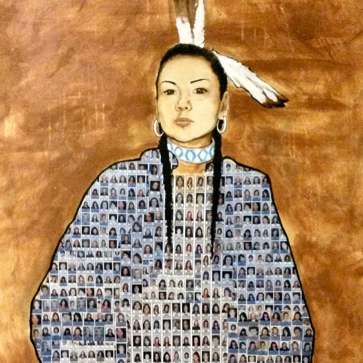 "Painting of a Native American woman, made of ""missing person"" posters"